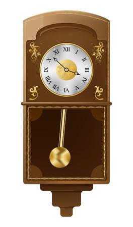 reloj de pendulo: reloj de pared Vintage sobre fondo blanco