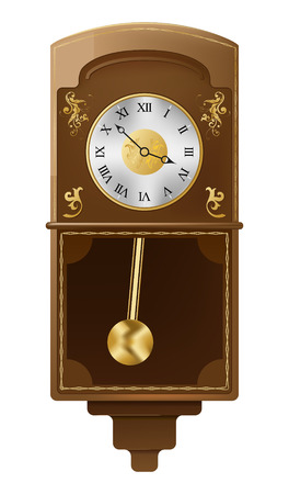 old hand: vintage wall clock on white background