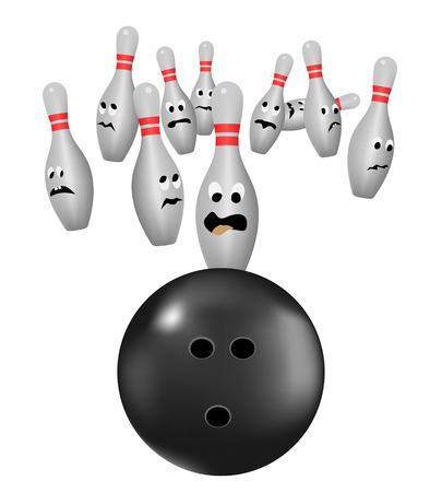 bowling pins scared of bowl Vector