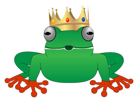 the frog prince:  cute frog with crown waiting for kiss