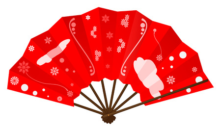 open fan: japanese fan on white background