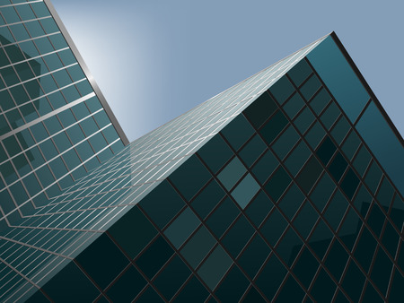 modern office: vector modern skyscraper with the blue sky behind