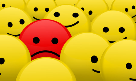 distinguish: red sad smiley between bunch of yellows