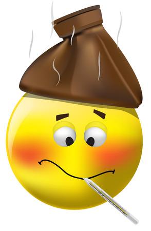 fieber: Abbildung von sick Smiley Messtemperatur auf wei�em Hintergrund