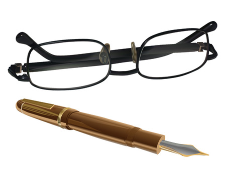 shortsighted: fountain pen and glasses on white background Illustration