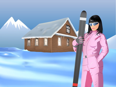 beautiful ski girl in front of mountain house Stock Vector - 7531079