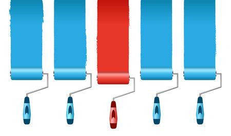 individualit�: illustrazione del concetto di individualit� mostrato con rulli di vernice