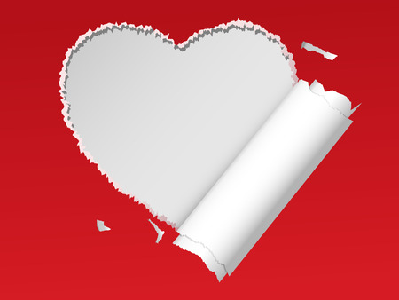 red paper torn in the shape of heart Vector