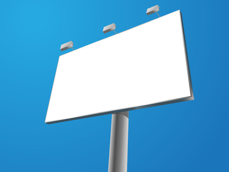 outdoor advertising: blank outdoor billboard on blue background