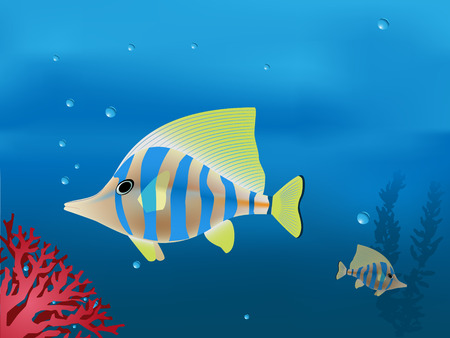 illustration of tropical fishes in deep blue sea