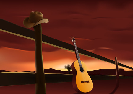 nostalgic scene with cowboy hat and guitar Stock Vector - 7750950