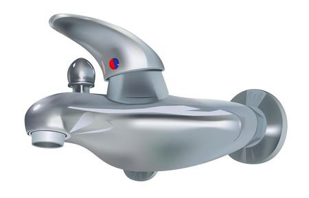 cocina limpieza:  grifo de agua realistas sobre fondo blanco Vectores