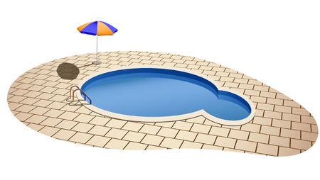 vector illustration of swimming pool and umbrella Stock Vector - 7849172
