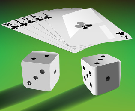 vector two dices and royal flash on green table Vector