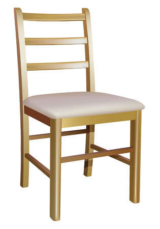 wood chair: silla de madera sobre fondo blanco  Vectores