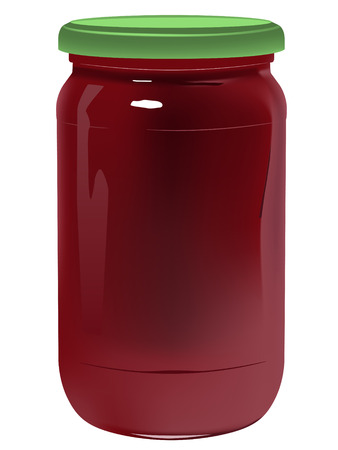 jarra: jarra realista con mermelada sobre fondo blanco