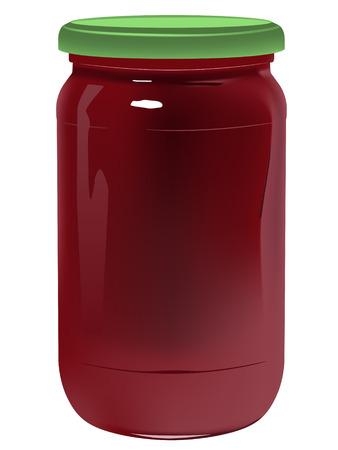 realistische pot met marmelade op witte achtergrond  Vector Illustratie