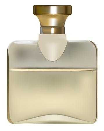 goldish perfume bottle on white background Illustration
