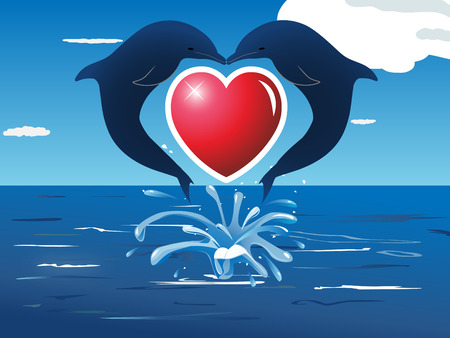 two dolphins jumping out of water and kissing Illustration
