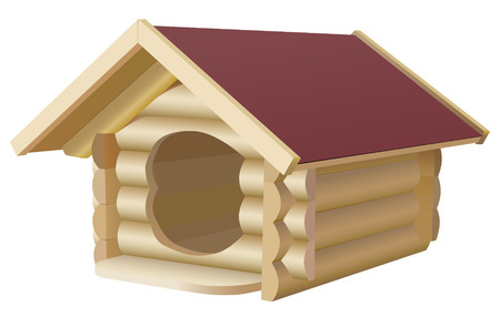 kennel: wooden dogs house on white background