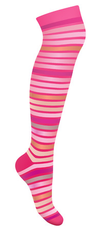 hosiery: multicolored striped stocking on white background