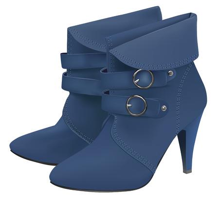 zapatos azules: Botas de ni�a realista sobre fondo blanco  Vectores