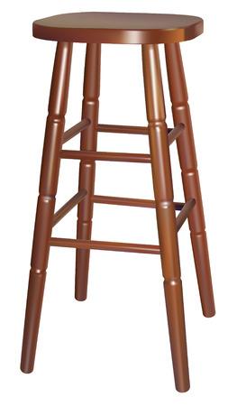 Vector hölzerne bar Stuhl auf weißem Hintergrund
