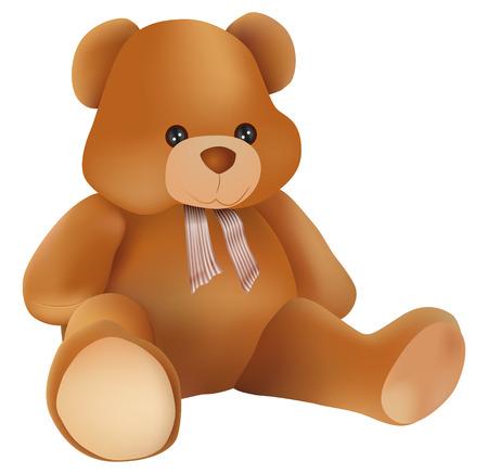 teddy: Vektor-cute Teddyb�r auf wei�em Hintergrund