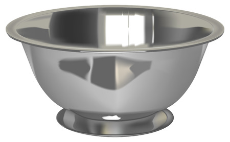 empty bowl: vector realistic silver bowl on white background