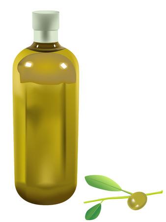 botella de aceite de oliva: aceite de oliva de botella y verde oliva sobre fondo blanco Vectores
