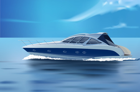 motorboat: luxury boat in motion Illustration