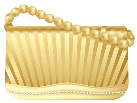 vector lady's golden handbag on white background Stock Vector - 8456895