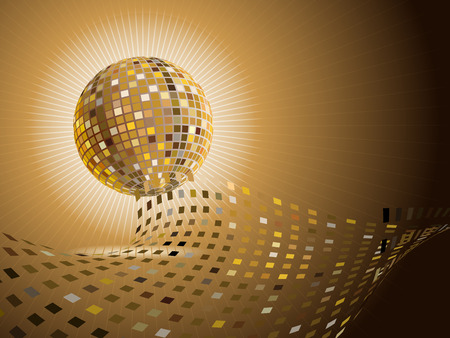 vector golden shiny disco ball with place for your text Vector
