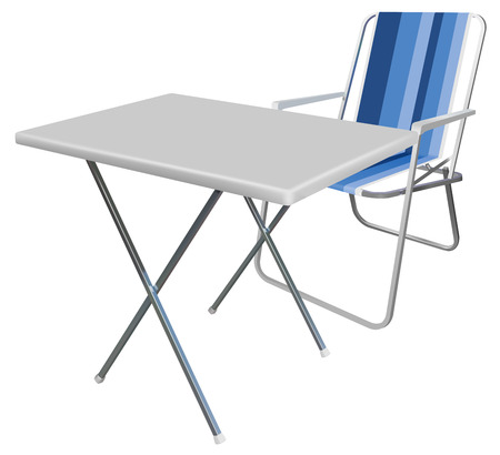 vector realistic picnic chair and table on white background Vector