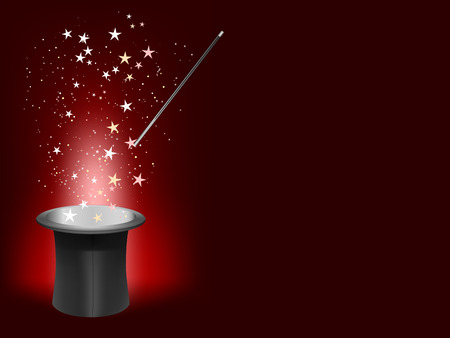magician hat and wand with place for your text Vector