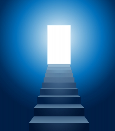 leading light: vector conceptual illustration of stairways leading into the light Illustration