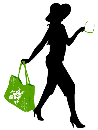 hurry: vector silhouette of girl with a bag and glasses going to the beach or shopping