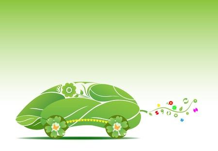conceptual illustration of futuristic eco car Illustration