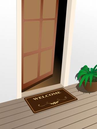 entrance: welcome mat on the porch
