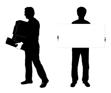 deliver: vector silhouette of two man, one carrying boxes , other holding empty banner