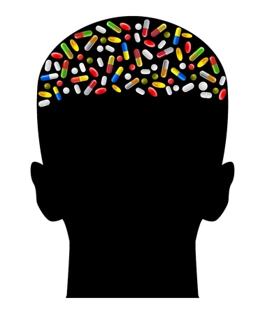 addiction: vector illustration of human brain made of various pills