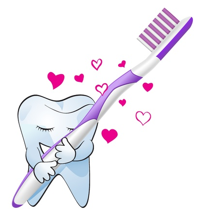 hygienic: concept vector illustration of tooth hugging tootbrush