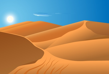 sand dune: vector illustration of desert dunes with blue sky and sun in the background