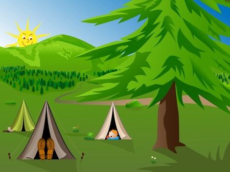 campamento: Ilustraci�n de dibujos animados de vector de acampar en las monta�as de ni�os