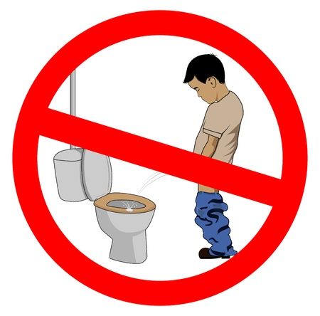 pissing: humorous illustration of a boy pissing on toilet seat Illustration