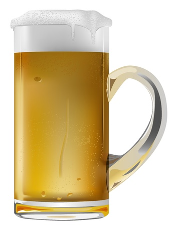 condensation on glass: realistic beer mug on white background