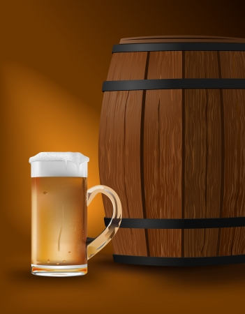 condensation on glass: beer mug and barrel   Illustration