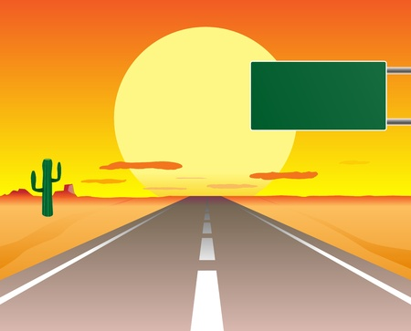 desert road: desert road in the sunset Illustration
