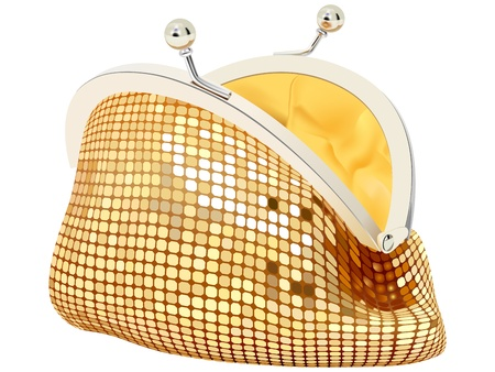 vector realistic golden purse on white background  イラスト・ベクター素材