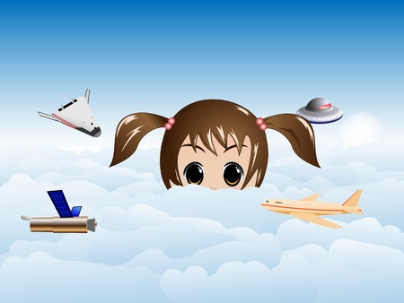 realize: vector concept illustration of curious little girl looking over the clouds Illustration